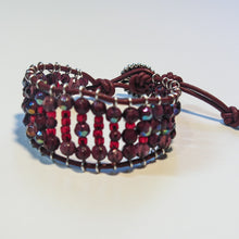 Load image into Gallery viewer, Leather Railroad Track Bracelet with Button Clasp, in Red & Burgundy
