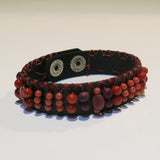 Leather Cuff Bracelet in Brown Leather with Warm Color Beads
