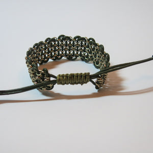 "Leather & Chain ""Industrial"" Bracelet, Black & Antique Brass"