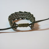 "Leather & Chain ""Industrial"" Bracelet in Olive Green & Gold"