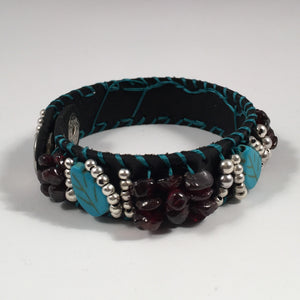 Leather Cuff Bracelet in Black Leather with Turquoise, Burgundy & Silver Overlay Beads