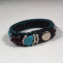 Load image into Gallery viewer, Leather Cuff Bracelet in Black Leather with Turquoise, Burgundy & Silver Overlay Beads