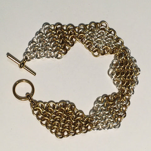 Chain Maille Bracelet in Slinky European 4-in-1 Diamond Weave, 2-Tone