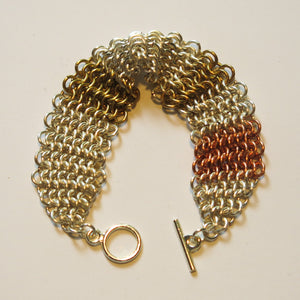 Chain Maille Bracelet in Slinky European 4-in-1 Weave, Mixed Metals