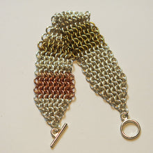 Load image into Gallery viewer, Chain Maille Bracelet in Slinky European 4-in-1 Weave, Mixed Metals