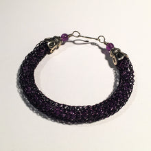 Load image into Gallery viewer, Viking Knit Bracelet, Purple Wire with Amethyst Beads