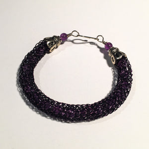 Viking Knit Bracelet, Purple Wire with Amethyst Beads