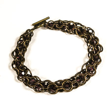 Load image into Gallery viewer, Chain Maille Bracelet in Triangle Weave, with Swarovski Cystals