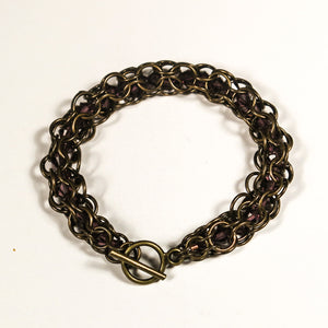 Chain Maille Bracelet in Triangle Weave, with Swarovski Cystals