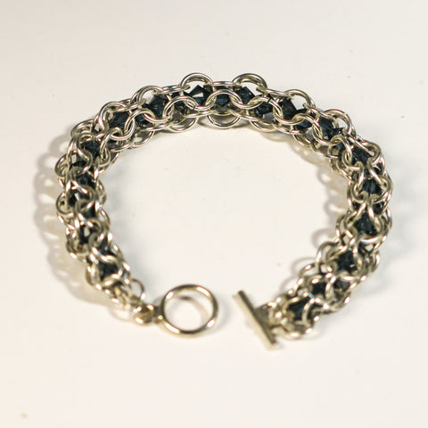 Chain Maille Bracelet in Triangle Weave, with Swarovski Crystals