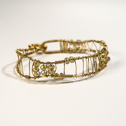 Bead-Wrapped Wire Bracelet, Goldtone with Champage Crystals, Free-Form Shape