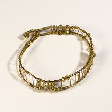 Load image into Gallery viewer, Bead-Wrapped Wire Bracelet, Goldtone with Champage Crystals, Free-Form Shape