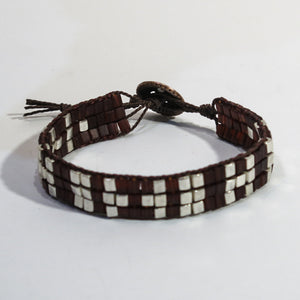 Woven Bracelet with Coffee and Silver Cube Beads