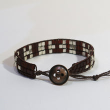 Load image into Gallery viewer, Woven Bracelet with Coffee and Silver Cube Beads