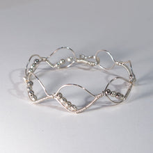 Load image into Gallery viewer, Bead-Wrapped Wire Bracelet with Matching Metal Beads, Ovals
