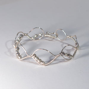 Bead-Wrapped Wire Bracelet with Matching Metal Beads, Ovals