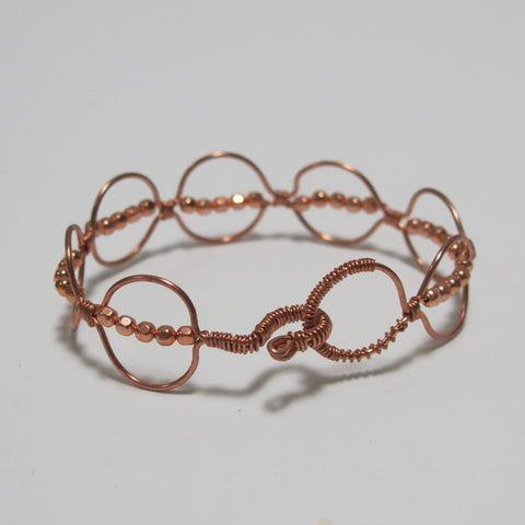 Bead-Wrapped Wire Bracelet with Matching Metal Beads, Circles