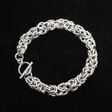 Load image into Gallery viewer, Chain Maille Bracelet in Byzantine Weave, 2-Tone