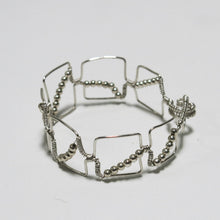 Load image into Gallery viewer, Bead-Wrapped Wire Bracelet with Matching Metal Beads, Squares