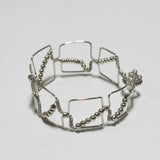 Bead-Wrapped Wire Bracelet with Matching Metal Beads, Squares