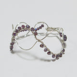 Bead-Wrapped Wire Bracelet, Silver Overlay with Violet Crystals, Roller Coaster Shape