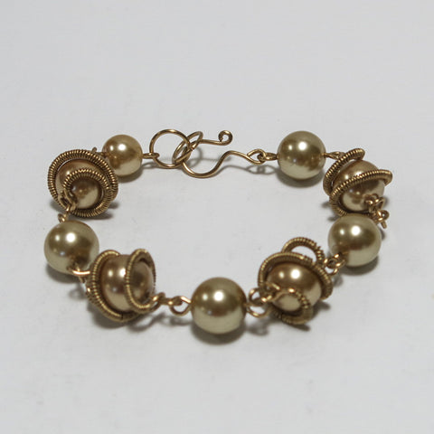 Orbit Bracelet with Glass Pearls