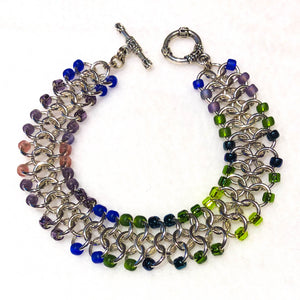 Chain Maille Bracelet - European 4-in-1 Weave with Colorful Seed Beads