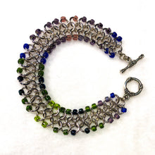 Load image into Gallery viewer, Chain Maille Bracelet - European 4-in-1 Weave with Colorful Seed Beads