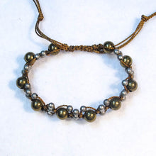 Load image into Gallery viewer, Complex Design Macrame Bracelet with Pewter & Brass Beads