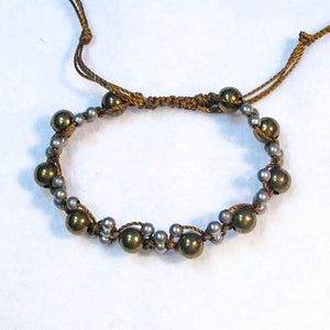 Complex Design Macrame Bracelet with Pewter & Brass Beads