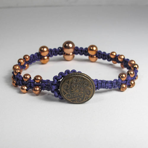 Double-Sided Macrame Bracelet with Graduated Metal Beads & Button Closure