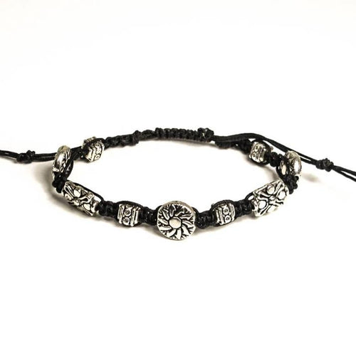 Macrame Bracelet with Graduated, Detailed Pewter Beads