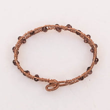 Load image into Gallery viewer, Bead-Wrapped Wire Bracelet, Copper with Burgundy Crystals, Free-Form Shape