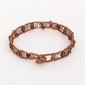 Bead-Wrapped Wire Bracelet, Copper with Burgundy Crystals, Free-Form Shape