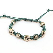 Load image into Gallery viewer, Macrame Bracelet with Sliding Closure Turquoise Cotton with Pewter Beads