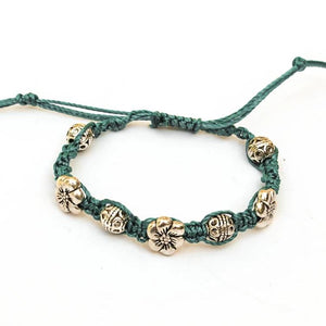 Macrame Bracelet with Mixed Pewter Beads & Sliding Closure
