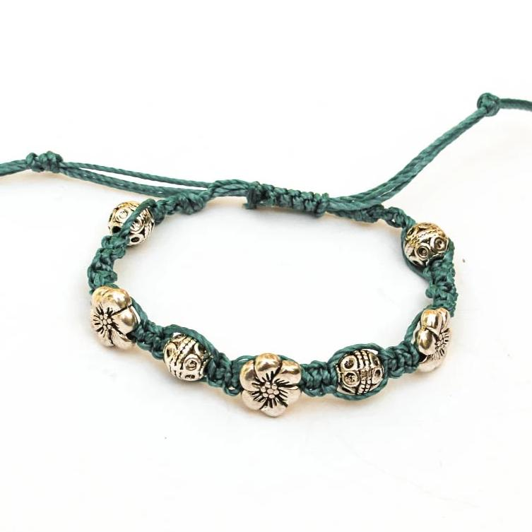 Macrame Bracelet with Sliding Closure Turquoise Cotton with Pewter Beads