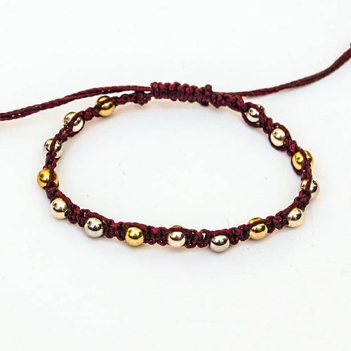 Macrame Bracelet with Silver & Gold Beads