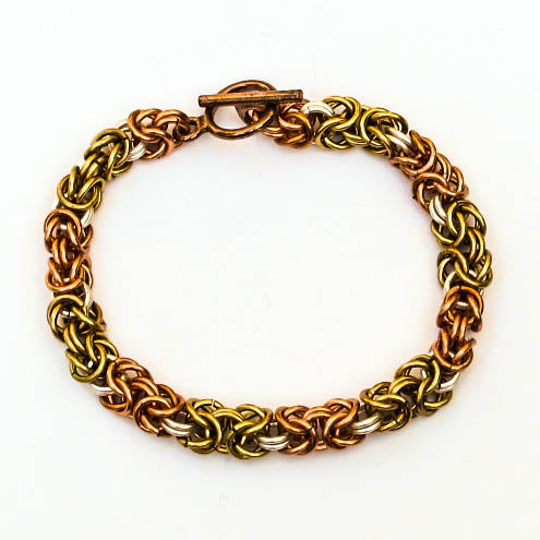 Chain Maille Bracelet in Byzantine Weave, Lighter Weight
