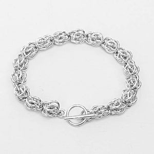 Chain Maille Bracelet in Sweet Pea Weave