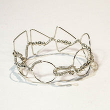 Load image into Gallery viewer, Bead-Wrapped Wire Bracelet with Matching Metal Beads, Mixed Shapes
