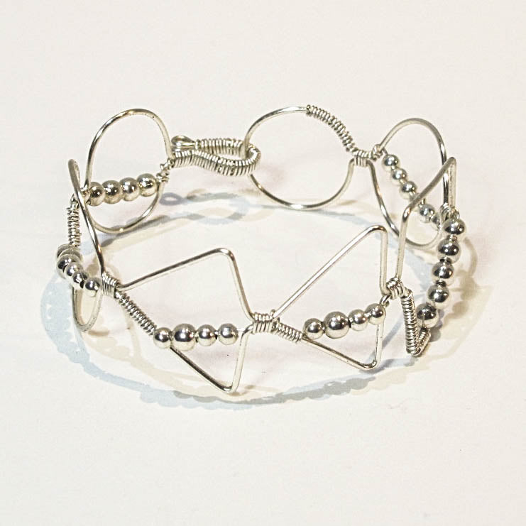 Bead-Wrapped Wire Bracelet with Matching Metal Beads, Mixed Shapes