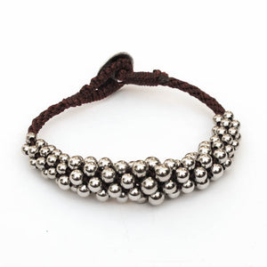 Kumihimo Bracelet with Graduated Metal Beads