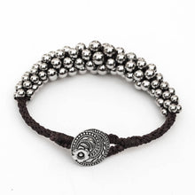 Load image into Gallery viewer, Kumihimo Bracelet with Graduated Metal Beads
