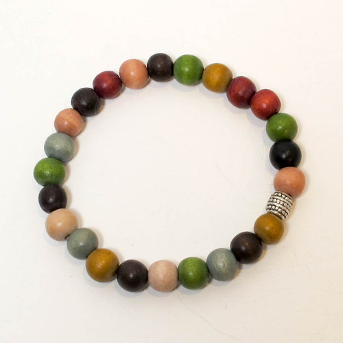 Stretchy Bracelet with Multicolor Wooden Beads