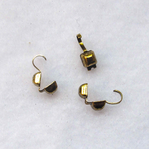 Clamshell Bead Tips, Square Shape, Antique Gold