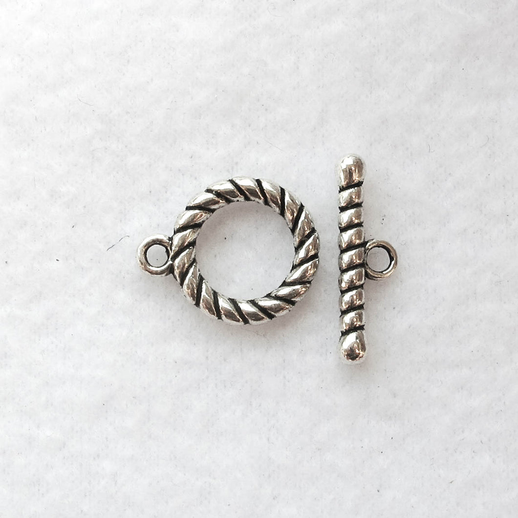 Decorative Toggle Clasp #2, Silver, 16mm.