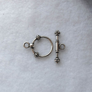 Decorative Toggle Clasp #3, Silver, 18mm.