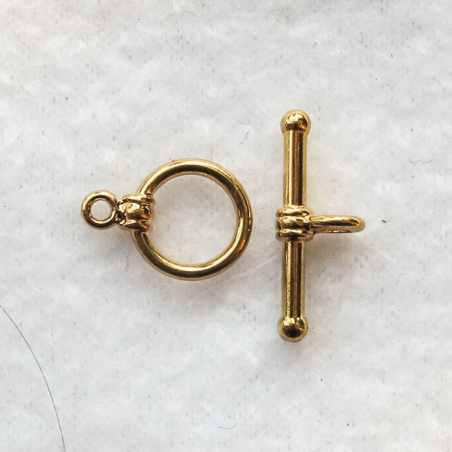 Toggle Clasp, Gold-Plated, 12mm.