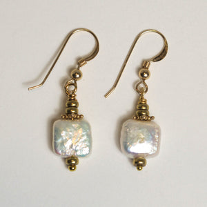 Square Freshwater Pearl Earrings with Gold or Silver Accents